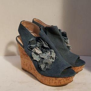 Nine West denim cork wedges shoes size 7.5